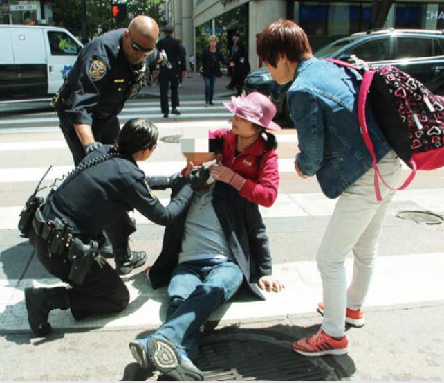 3名中国游客旧金山市中心被砍 现场血腥、混乱